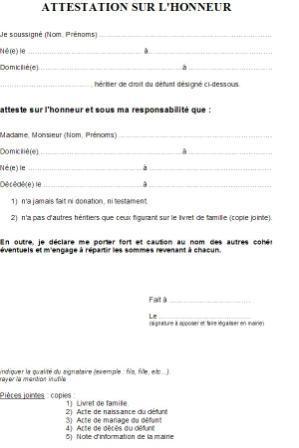 Modele Attestation Sur L Honneur De Vie Commune Document Online